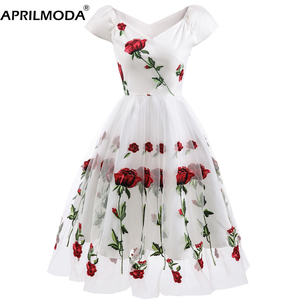 Embroidery Women Party Tulle Dress Retro Vintage 50S 60S Casual Big Swing Vestidos Junior Short Sleeve Flower Rockabilly Dresses
