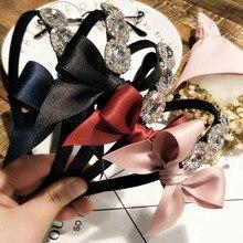 Fashion Shining crystal Rhinestone Hair Hoop Headband Hairband for Women Girls Ribbon bow Hair Band Hair Accessories 1pcs New