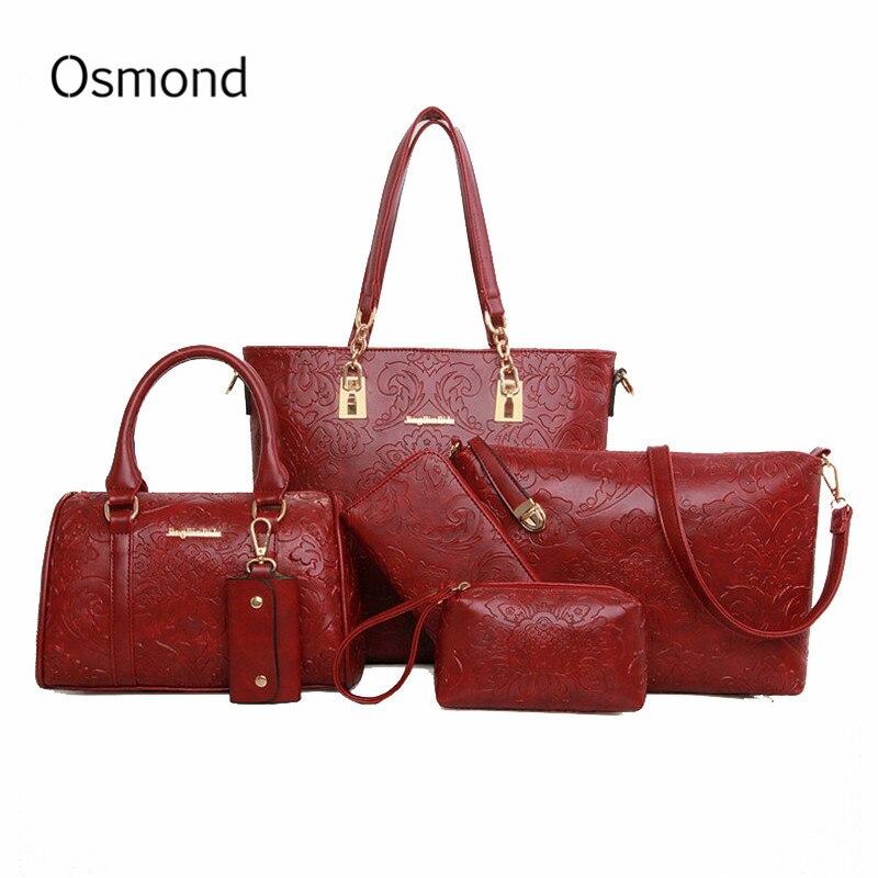 6PCS font b Sets b font Women font b Handbags b font Leather Messenger Bags Brand