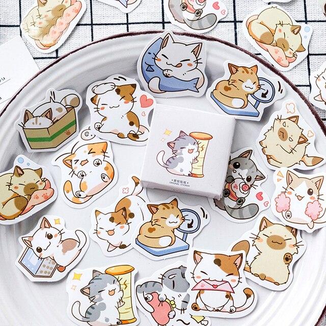 56 piezas pegatinas lindo gato serie Scrapbooking bala revista pegatinas papelería Etiqueta de hecho a mano diario sello etiquetas