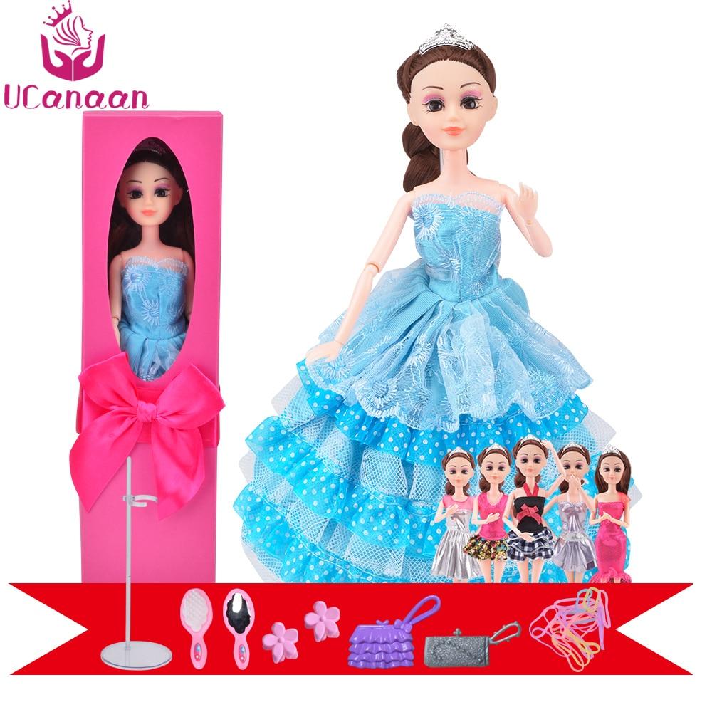 Ucanaan/Модная и Роскошная принцесса кукла каштановые волосы модные Игрушечные лошадки подарочная коробка синий Свадебные платья длинные гус...