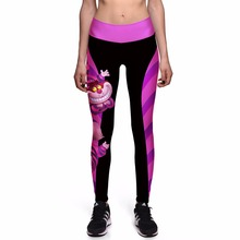 NEW 0010 Sexy Girl Women Alice in Wonderland Cheshire cat 3D Prints High Waist Workout Fitness Women Leggings Jogger Pants