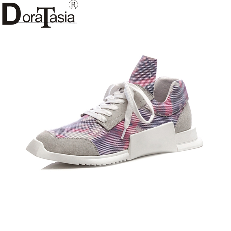 Doratasia 2018 Genuine Leather Brand Casual Flats Women Shoes Woman Leisure Air Mesh Sneakers Fashion Flats instantarts 2018 new fashion women casual flats anatomical hearts pattern air mesh sneakers breathable female flat shoes woman
