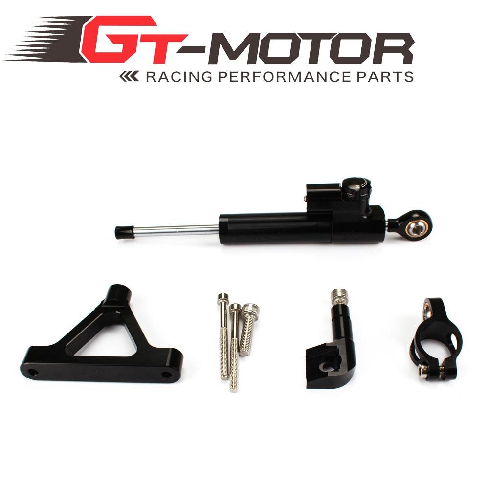 GT Motor - CNC Steering Damper complete Set for KAWASAKI ZX6R 636  2007-2008 w / bracket kits cnc steering damper complete set for kawasaki zx6r 636 2007 2008 w bracket kits