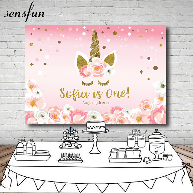Sensfun Pink Flowers Unicorn Party Photography Backdrop Glittler Polka Dots Children 1st Birthday Party Backgrounds Customized