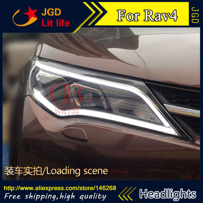 Free shipping ! Car styling LED HID Rio LED headlights Head Lamp case for Toyota RAV4 2014 Bi-Xenon Lens low beam special car trunk mats for toyota all models corolla camry rav4 auris prius yalis avensis 2014 accessories car styling auto