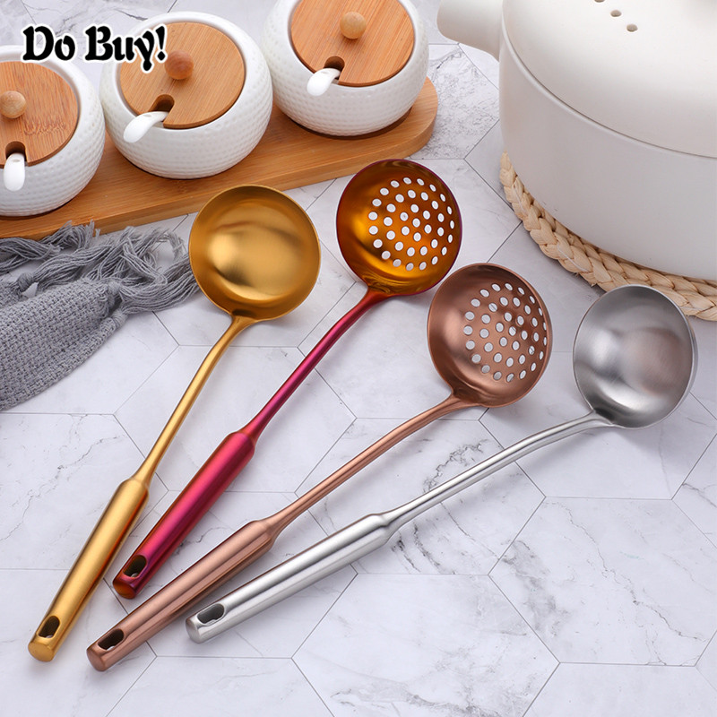 Silicone Spoon Strainer Long Handle Colander Soup Skimmer Cooking Soup Spoons Scoop Kitchen Tool