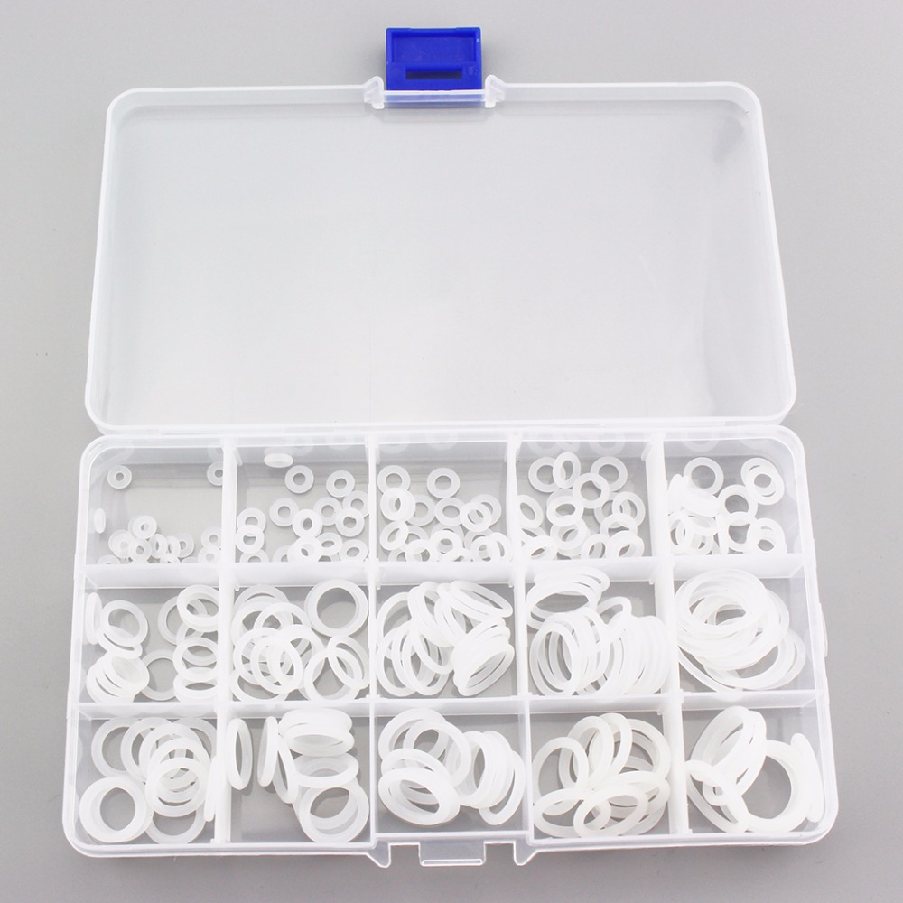 225PCS=1BOX PCP Paintball Socket Silicone O-ring Durable White Gasket Replacements 15 Sizes Sealing O-rings For Quick Couplers