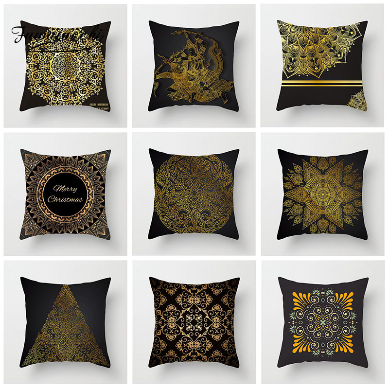 Fuwatacchi Geometric Cushion Cover Ethnic Style Golden Printed Pillow Cover For Sofa Home Bedroom Car Decorative Pillowcase