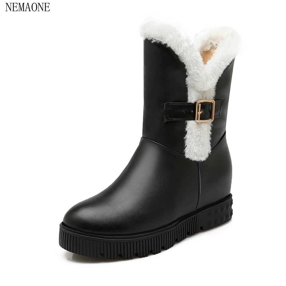 Details about women luxury diamond fashion snow boots rabbit fur boots - Nemaone New Fashion Fox Fur Womens Flats Boots Snow Boots Thick Bottom Big Size 35 43 Pu Leather Winter Boot Shoes