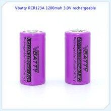 Vbatty RCR 1200mah 3v CR123A 1200mAh аккумуляторная батарея 3,0 v CR123a литиевые батареи с верхней кнопкой(1 шт/