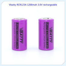 Vbatty RCR 1200 mah 3 v CR123A 1200 mAh batterie rechargeable 3.0 v CR123a batteries lithium avec dessus de bouton (1 PC/)(China)