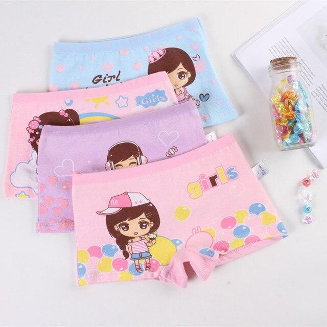 Mädchen Höschen 4 Stück Baumwolle mit Cartoon Druck Mädchen Unterhose Kinder Slip 2-12 Jahre 3
