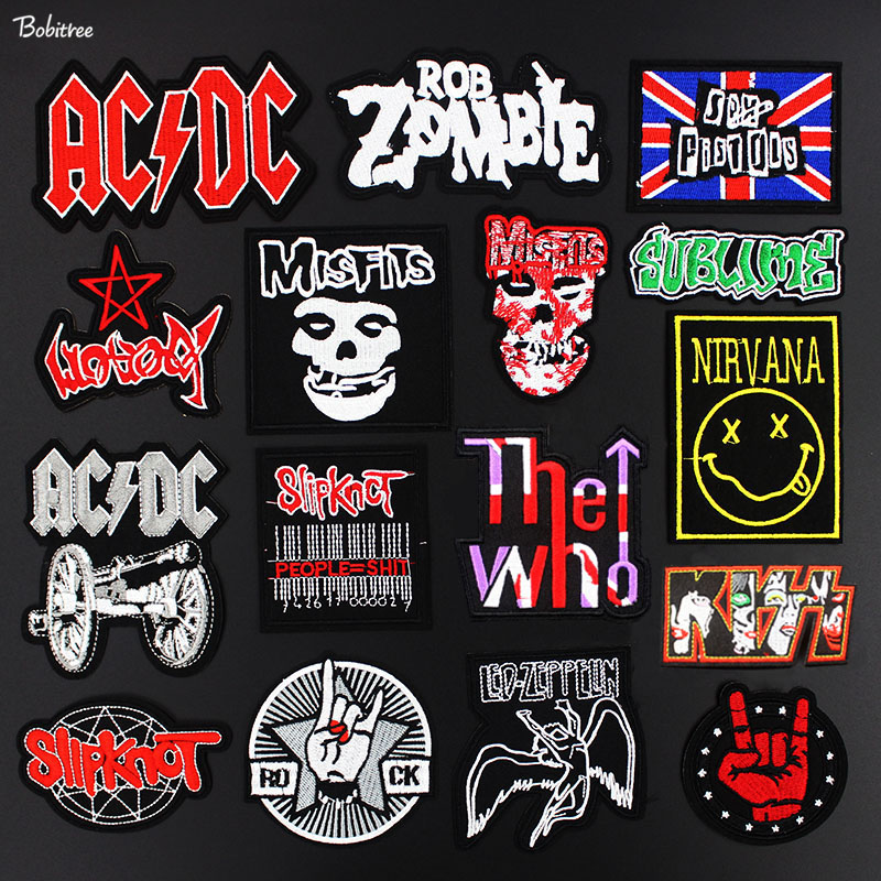 Metal Band Cloth Patches Rock Music Fans Badges Embroidered Motif Applique Stickers Iron On For Jacket Jeans Decoration