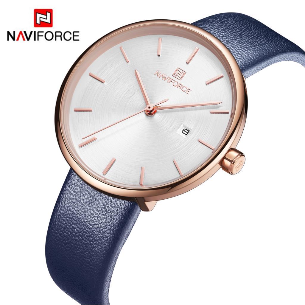 912ed8d9c806 NAVIFORCE reloj de las mujeres de moda Casual de cuarzo de señora PU correa  de reloj Simple cita impermeable reloj de pulsera regalo para niña esposa  mujer ...