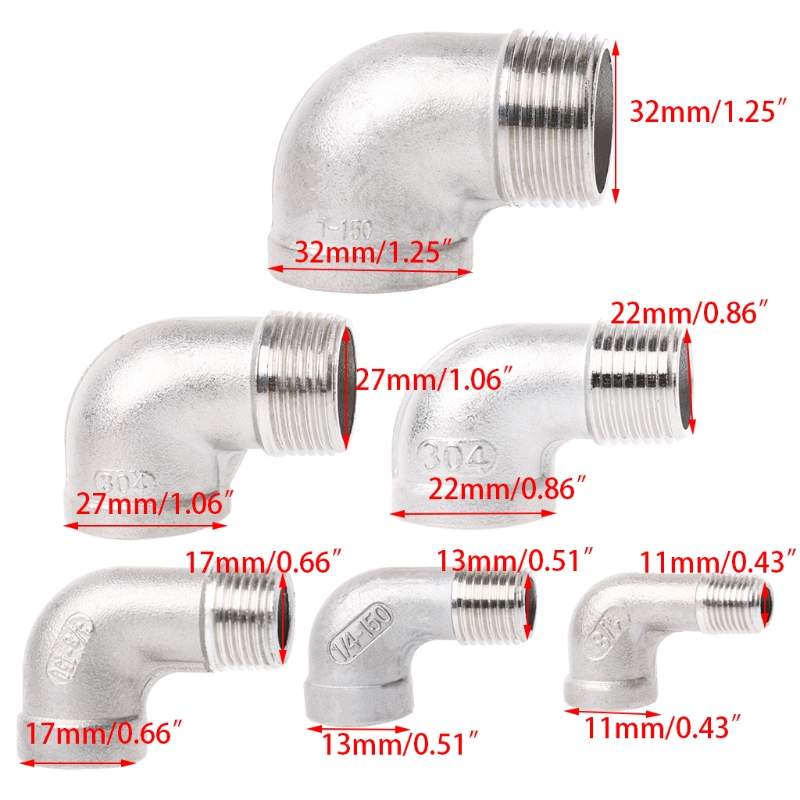 "1-1/8"" Female x 1-1/8"" Male Street Elbow Threaded Fitting Stainless Steel Pipe"