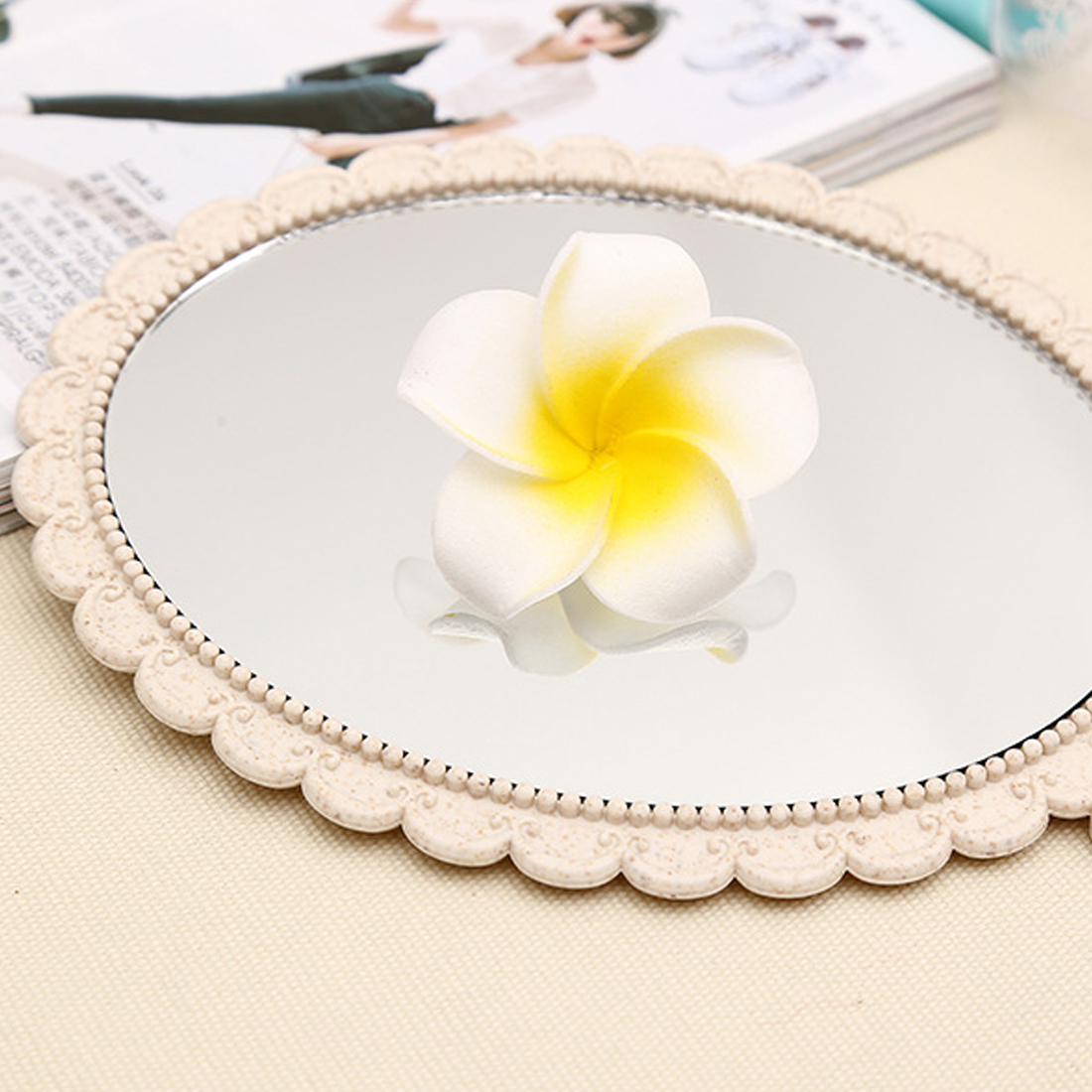 Top sale 1pc Silver Vintage Ladies Floral Repousse Oval Round Makeup Hand Hold Mirror Princess Lady Makeup Beauty Dresser Gift