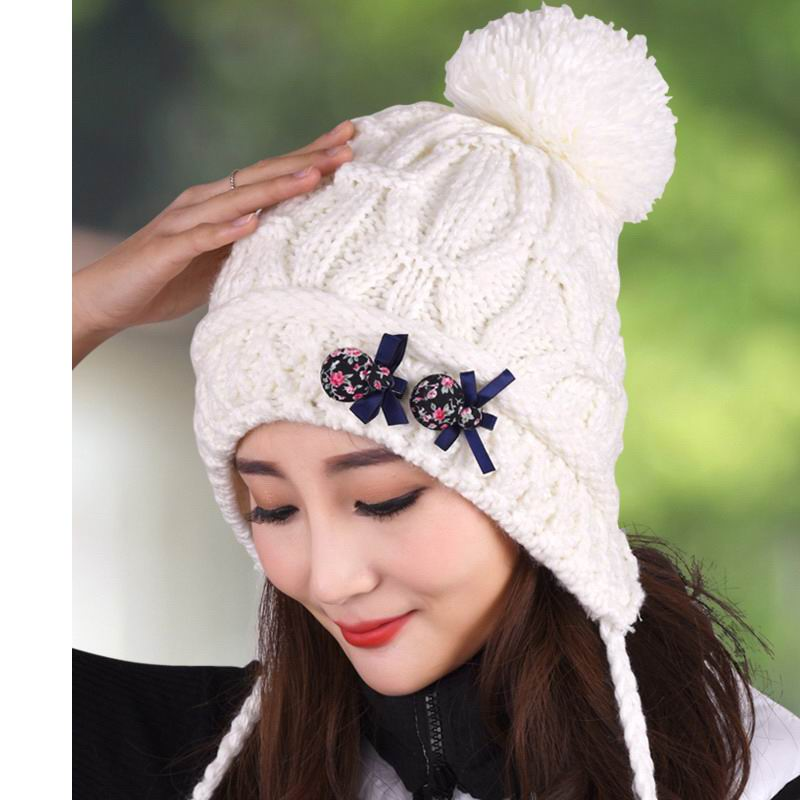 Hat female knitted hat winter thermal protector ear cap knitted hat cap  covering toe cap princess hat thickening fleece f405fb09bca