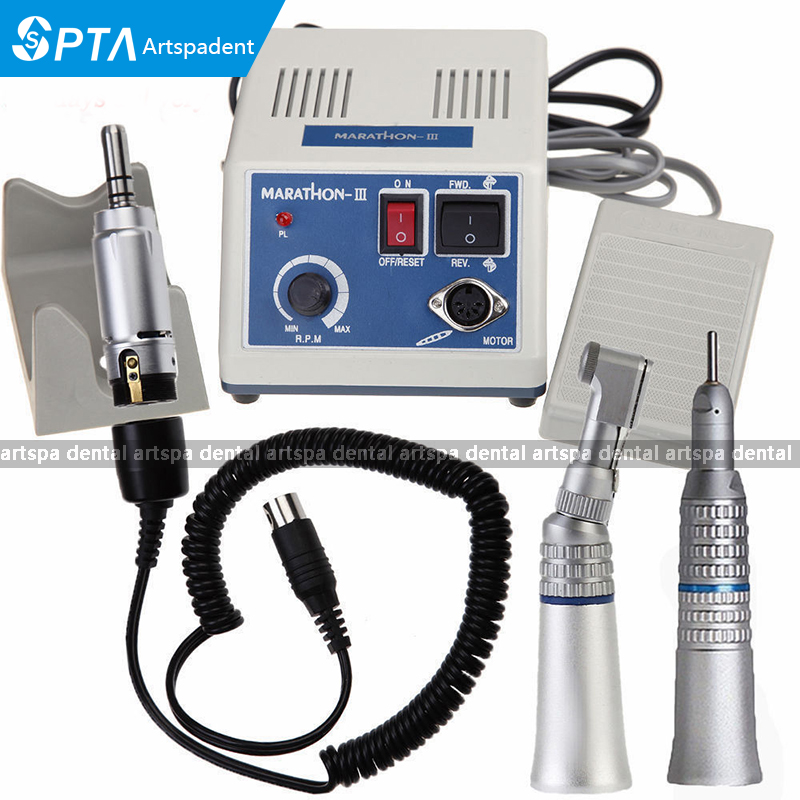 2017 NEW dental Lab micromotor polish handpiece with contra angle & straight handpiece SEAYANG MARATHON 3 + Electric Motor deasin new arrival inner and outer waterway dental electric motor straight contra angle handpiece