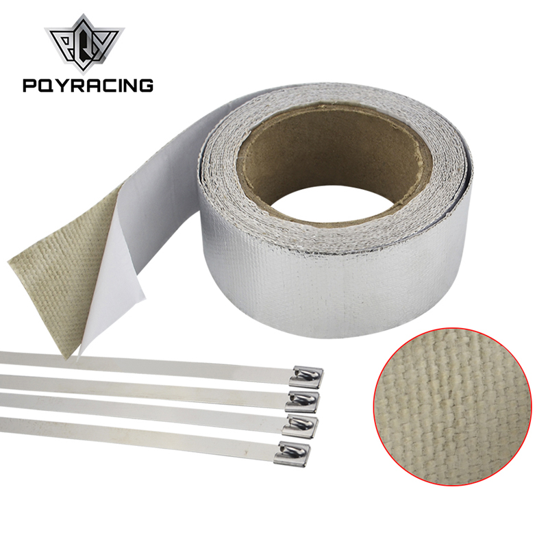 PQY - Car Aluminum Reinforced Tape Adhesive Backed Heat Shield Resistant Wrap For Intake pipe WITH 4PCS TIES PQY1612