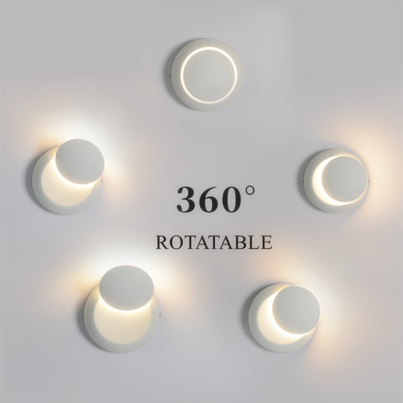 DAR Nordic Wall Lamps 360 Degree Rotatable Bedroom Lights Black White Painted Iron Bedside 5w Wall Lamp Led Home Indoor Lighting vintage wall lamp indoor lighting bedside lamps wall lights for home