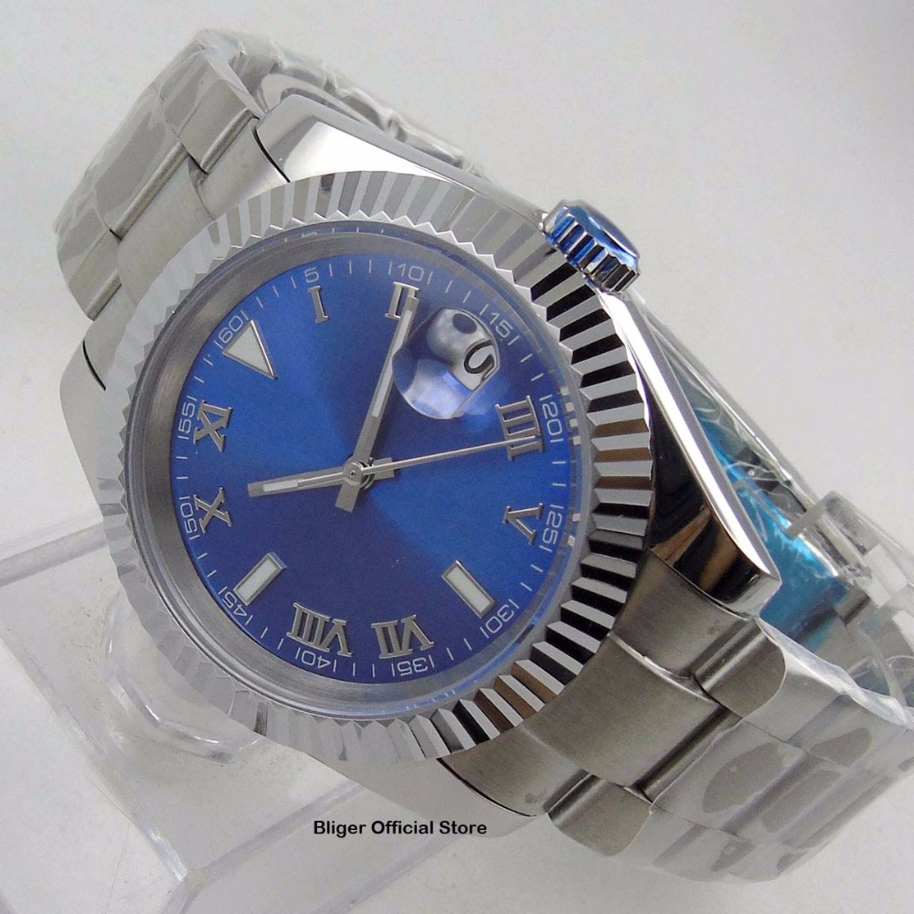 Fashion Luxury Automatic Movement Mens Watch BLIGER 40mm Sea Blue Nologo Dial Auto Date Indicator Stainless Steel StrapFashion Luxury Automatic Movement Mens Watch BLIGER 40mm Sea Blue Nologo Dial Auto Date Indicator Stainless Steel Strap