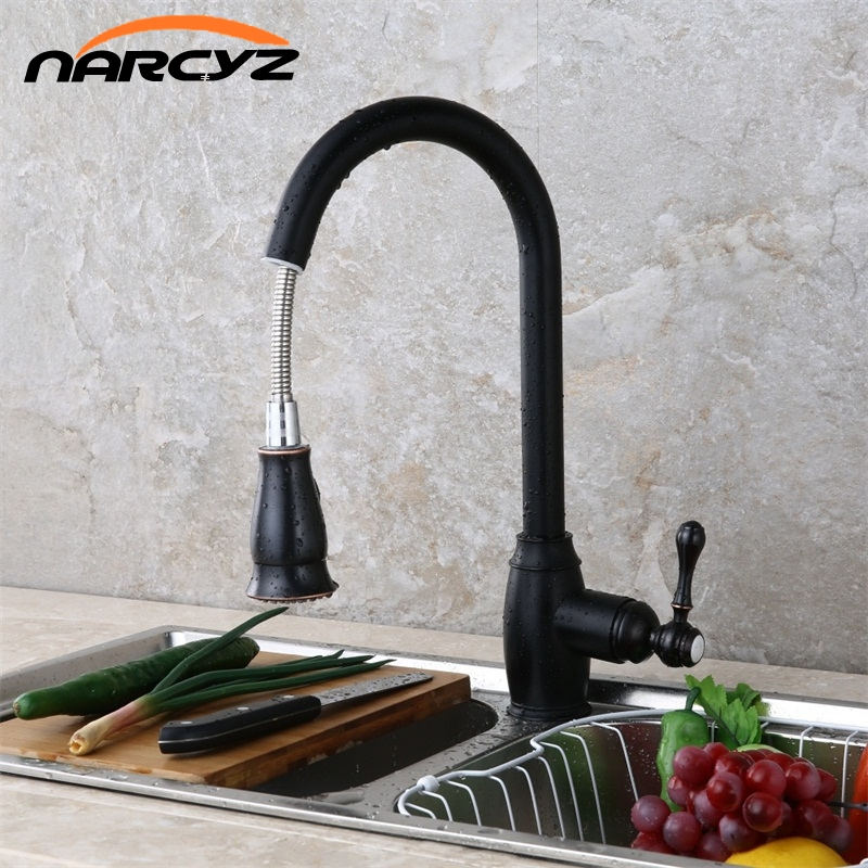 Kithchen Faucets Luxury Pull Out Kitchen Sink Faucet Brass Swivel Spray Kitchen Tap Single Hole Water Tap torneira cozinha XT-41 black chrome kitchen faucet pull out sink faucets mixer cold and hot kitchen tap single hole water tap torneira