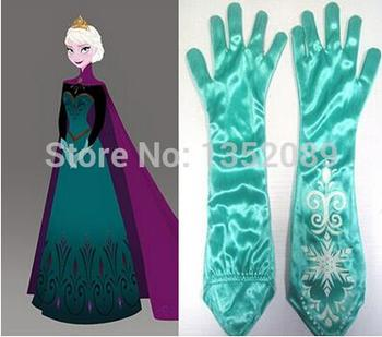 New arrival 2015 Hot Sell Children princess accessory Ice snow elsa anna gloves aqua blue long Gloves Halloween Gift of Kids