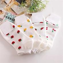 Fruit Series Ankle Socks Women Girls Casual Boat Socks 100% Pure Cotton Soft Breathable Socks Pineapple Watermelon Cherry Sokken