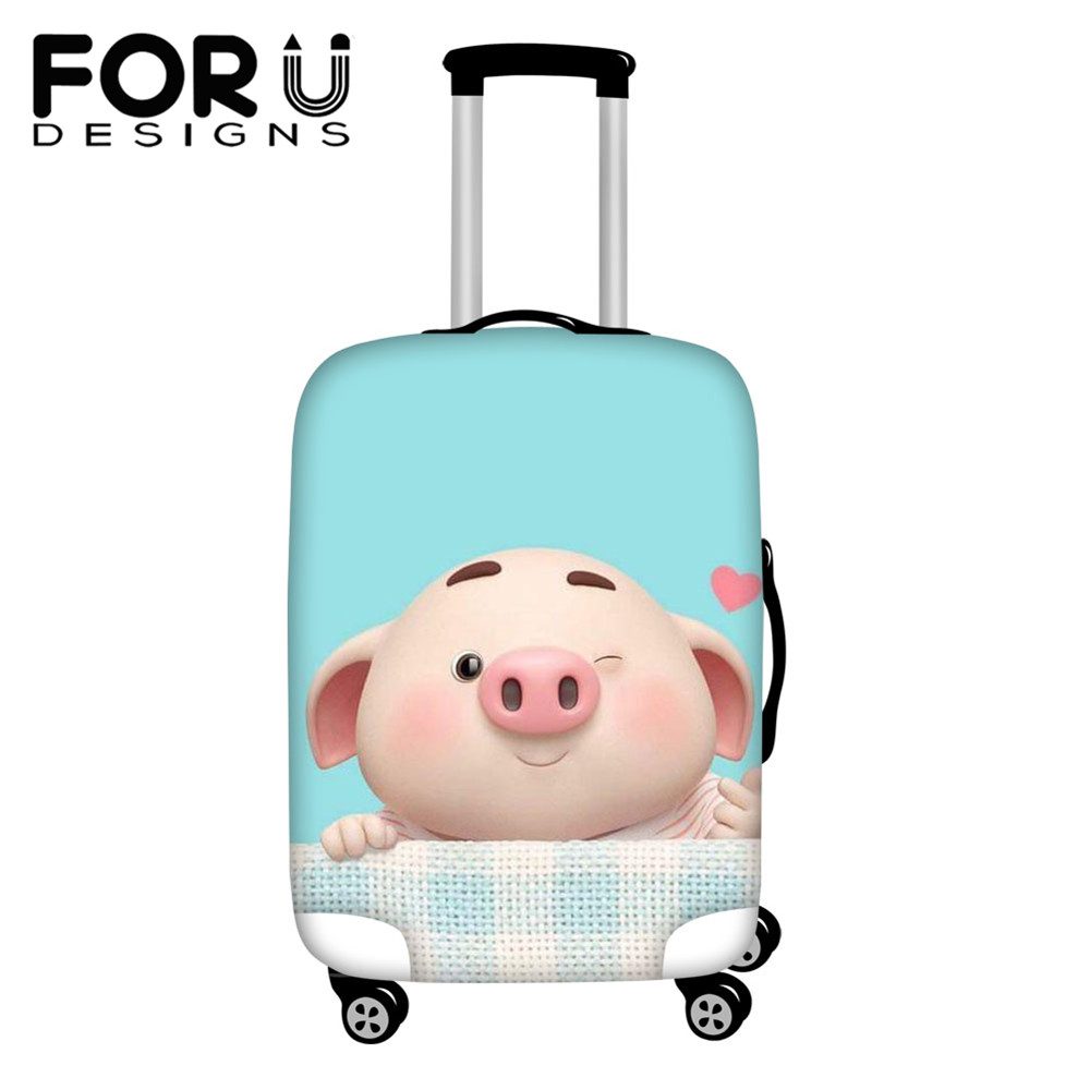 FORUDESIGNS 3D Cartoon Cute Pig Printed Elastic Luggage Protective Cover 18-28 Inch Men Women Trolley Accessories Suitcase Cover