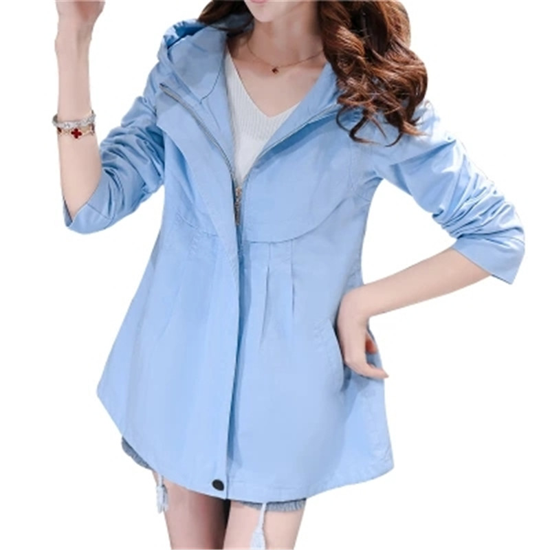 Fashion Plus Size Women Coat 2018 New Spring Autumn Hooded Short   Trench   Coat Casual Loose Thin Windbreaker Female Outerwear C136