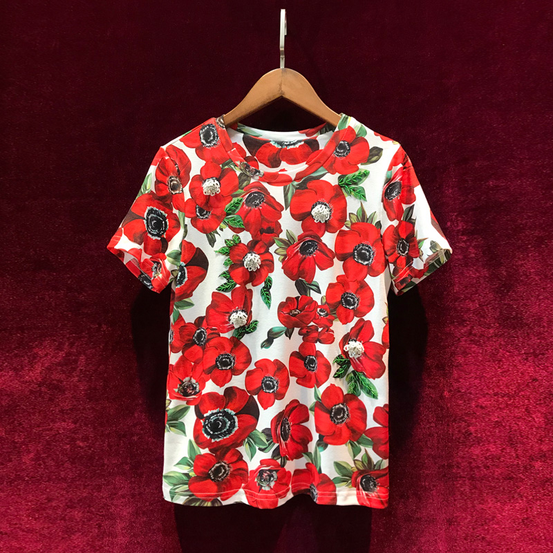 2019 new arrival summer shirts and women tops with short sleeve and floral tops for femme and girls-in T-Shirts from Women's Clothing    1