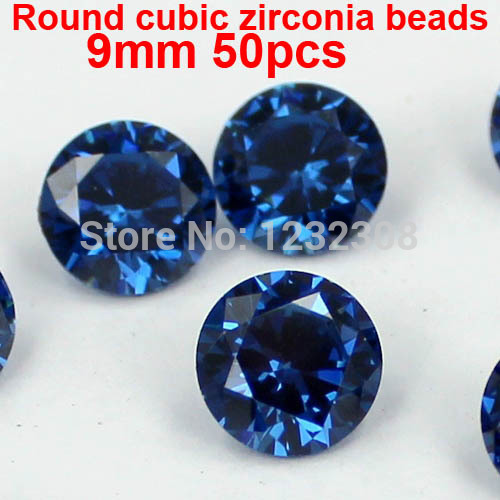 AAAAA Grade Brilliant Cuts Round Cubic Zirconia Beads 50pcs 9mm Beauty Stones Supplies For Jewelry DIY 3D Nail Art Decorations