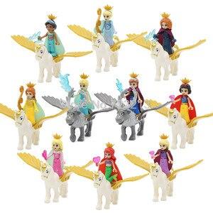 Vente unique princesse avec cheval volant fille sirène Figure cendrillon blanc neige poupée Anna blocs de construction ensembles(China)