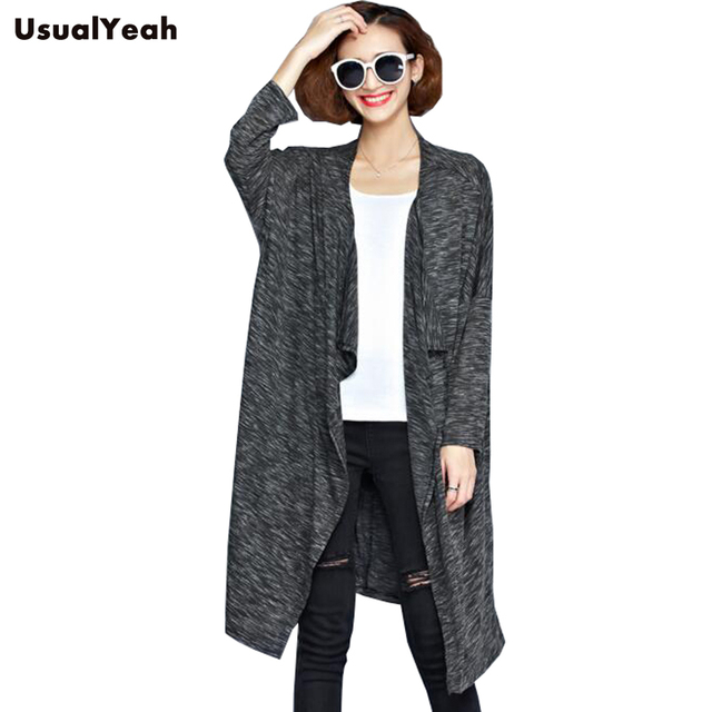 USUALYEAH 2016 Autumn Spring Women Solid Trench Plus size Cardigan Coat Deep gray Casual Style Soft Top MY0089