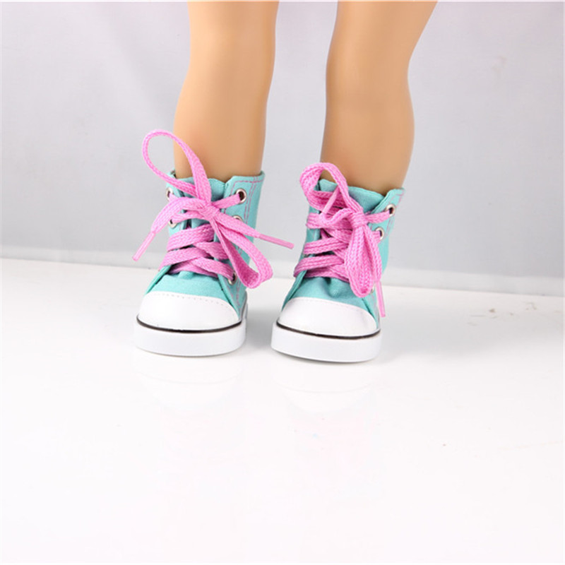 High Quality Doll Accessories New Baby Born Doll Bue High Top Shoes For 18 Inch American Girl Doll Clothes And Shoes