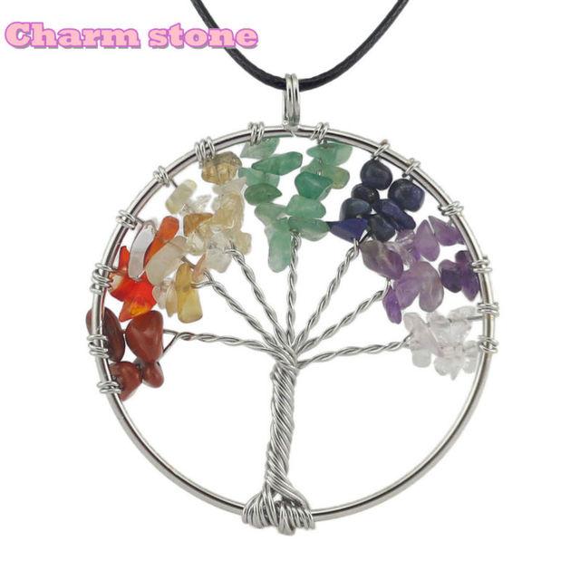7 chakras baum des lebens Anhänger Halskette weihnachtsbaum ...