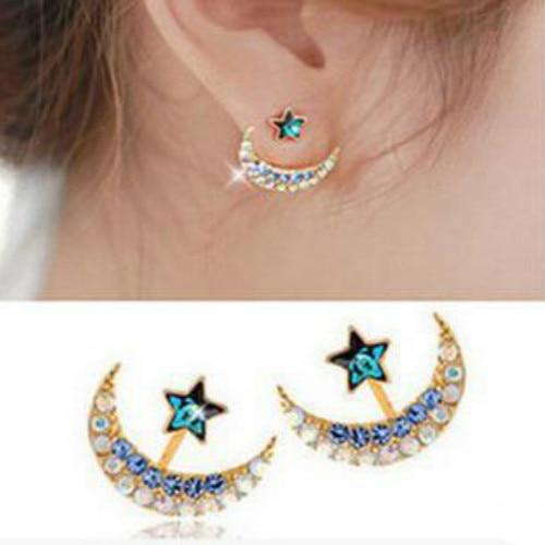 Moon Korean Jewelry stud earrings studs blue stars cute 2016 Earrings for Women Jewellery jewellery