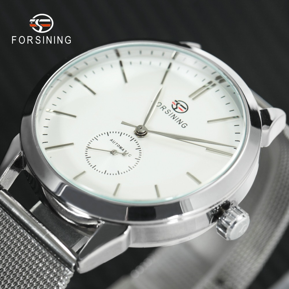 Men's Watches Hearty Forsining Fashion Dress Watch Men Auto Mechanical Watches White Dial Ultra Thin Mesh Strap Minimalist Wristwatch Montre Homme