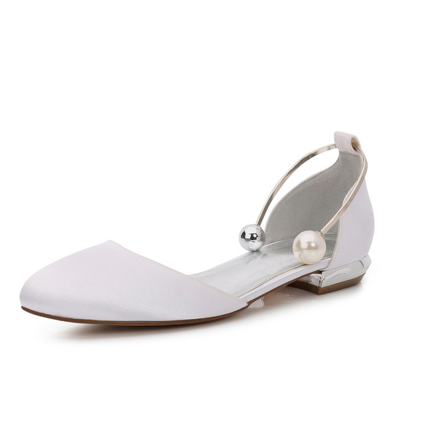 Creativesugar women rounded toe D orsay satin evening dress flat shoes with  metal ankle bracelet pearl ball special flats colors 1e42b8b6c84d