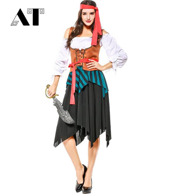 Sexy Women Pirate Costume Halloween Fancy Party Dress Carnival Perfor mance high quality Adult Pirate Cosplay Costumes