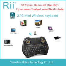 Fly Air mouse Rii mini i28 ratón inalámbrico Teclado Touchpad Audio retroiluminado Combo gaming Teclado para Andorid TVBox HTPC Tablet PC