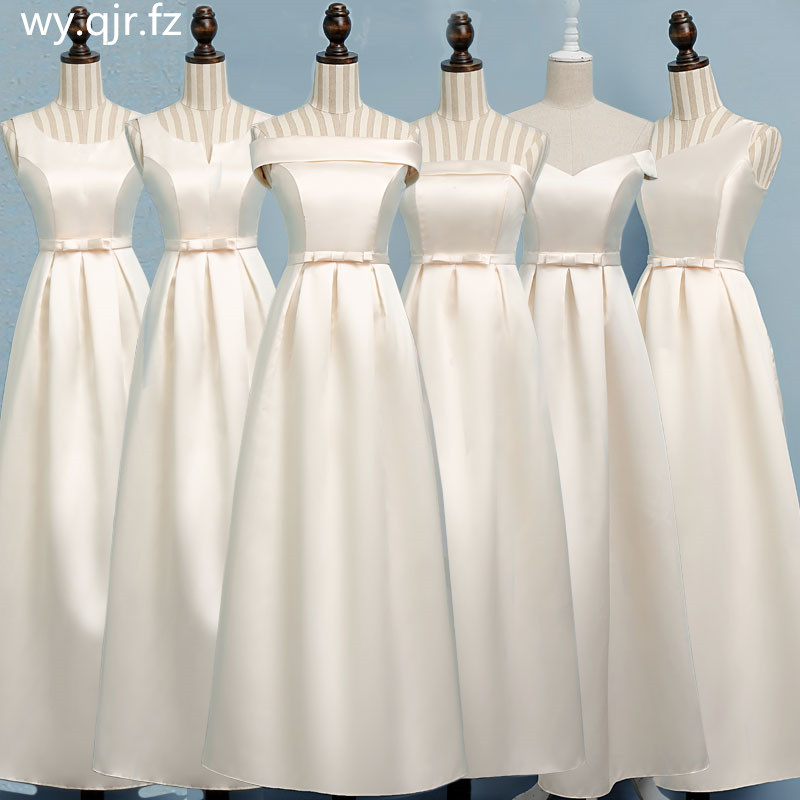 ASL XB#Boat Neck Champagne long Bridesmaid Dresses wedding party dress gown prom women's fashion cheap wholesale Women clothing-in Bridesmaid Dresses from Weddings & Events