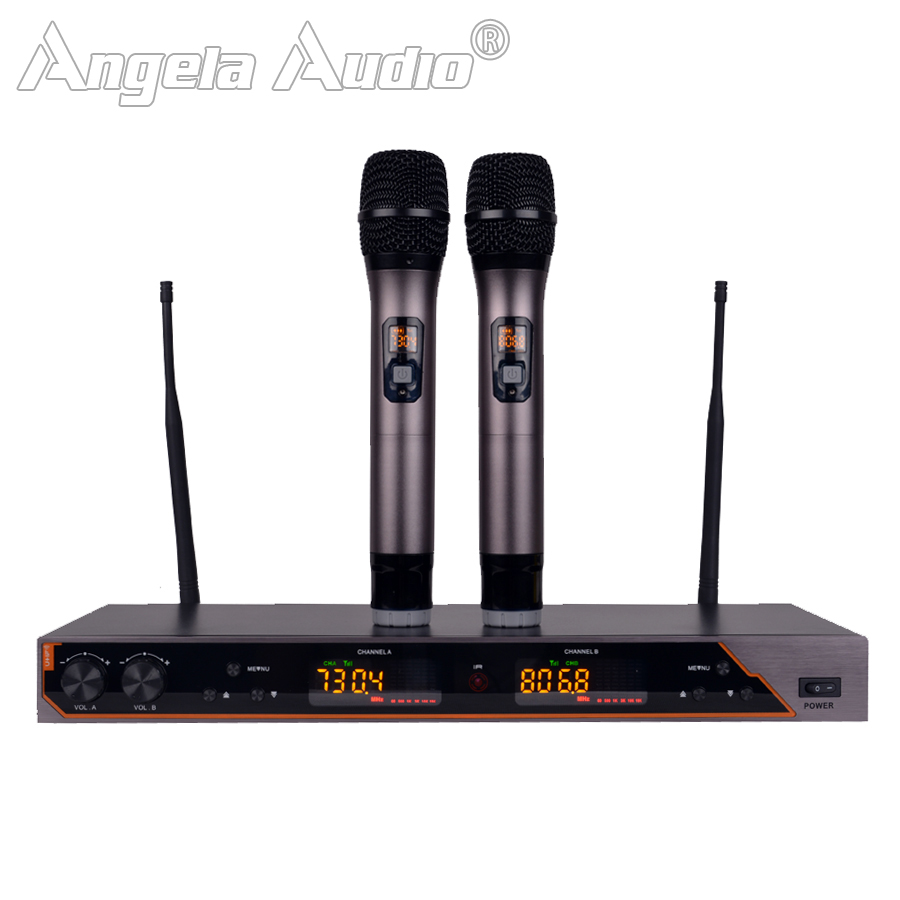 UR6S Professional UHF Wireless Microphone Karaoke System 80M Distance 2 Channels Receiver Handheld Cordless Mic KTV Stage ShowUR6S Professional UHF Wireless Microphone Karaoke System 80M Distance 2 Channels Receiver Handheld Cordless Mic KTV Stage Show