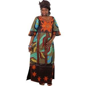 Image 2 - MD فساتين للنساء السيدات dashiki الشمع اللباس مع headtie الأفريقية بازان الثراء التقليدية الملابس الإناث 2019 رداء africaine