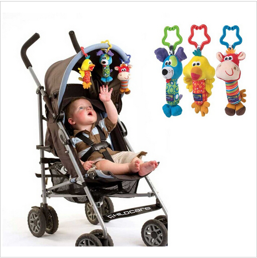 Dog chicken and Cattle Baby Toys Rattle Tinkle Hand Bell Multifunctional Plush Stroller Free shipping