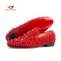 Jeder schuh Для мужчин Лоферы модная повседневная обувь с заклепками Новая мужская обувь на плоской подошве дизайн Италия красный из тисненой ко