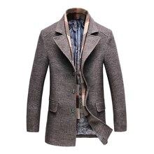 Осень Зима Новое мужское длинное шерстяное пальто деловая Повседневная модная мужская шерстяная тонкая ветровка брендовая одежда