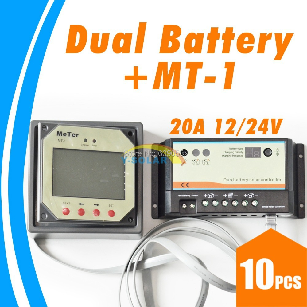 10Pcs 20A Daul Battery Solar Charge Controller with MT 1 Display to Show All the Parameters 12V 24V Auto Work Settable BAT Type