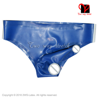 Sexy Latex Underwear With Glued Penis Sheath With Stripes On Two Side Rubber Briefs Shorts Underpants